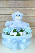 One Tier Blue Rose Nappy Cake
