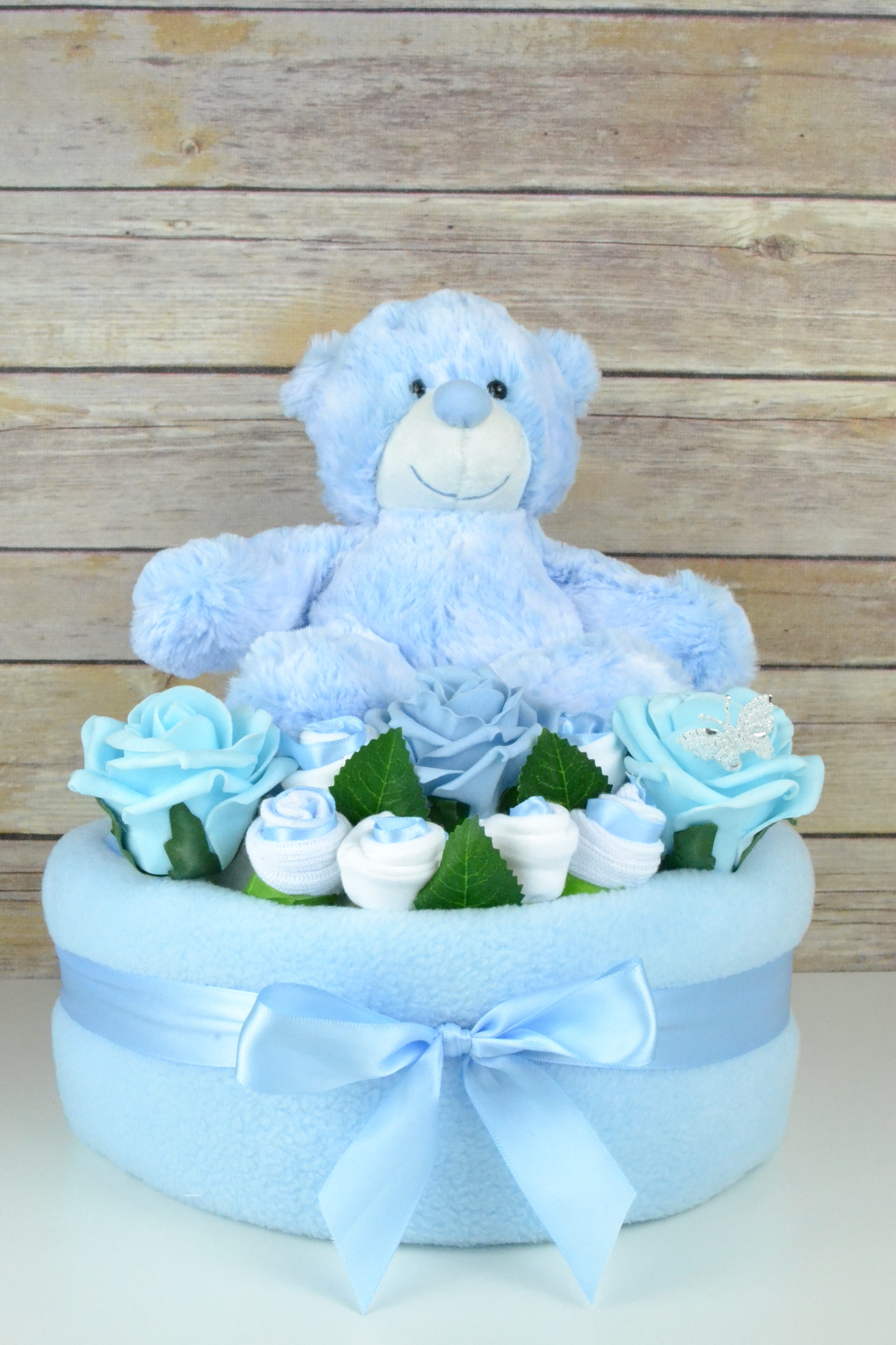 One Tier Blue Rose Nappy Cake Little Angels Of Sussex