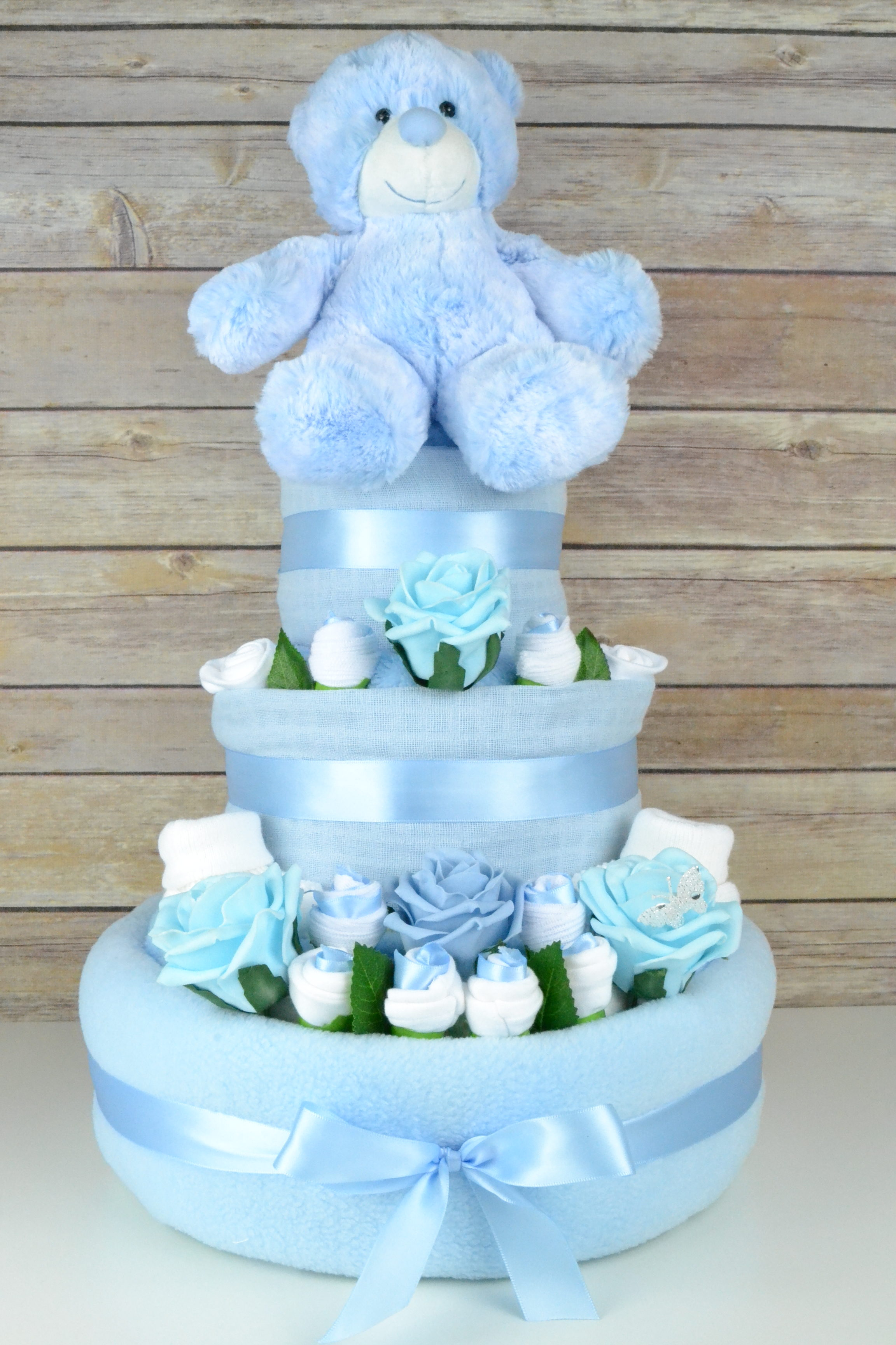 Three Tier Blue Rose Nappy Cake