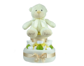 Two Tier First Teddy Nappy Cake - Cream