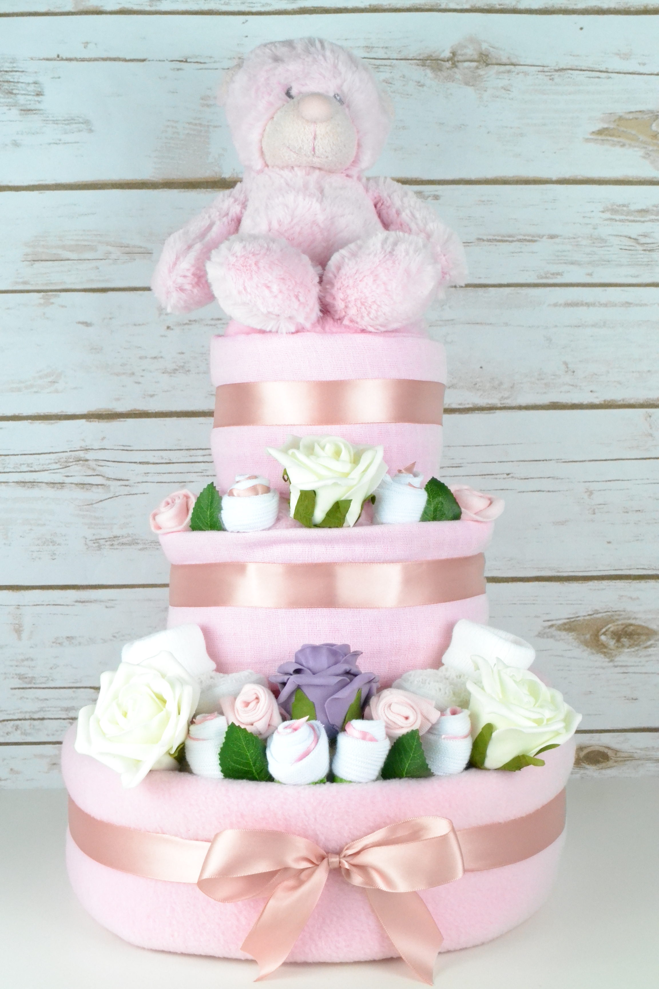 Three Tier Pink Rose Nappy Cake