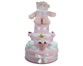 Three Tier Pink Flower Pot Nappy Cake
