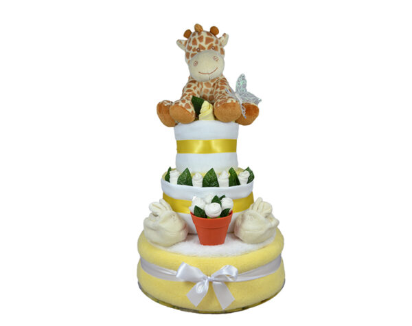 Three Tier Flower Pot Nappy Cake - Neutral
