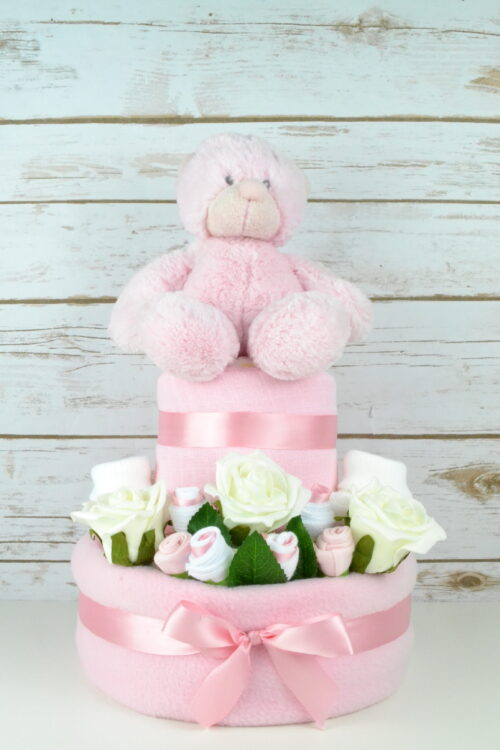Two Tier Pink Rose Bud Nappy Cake