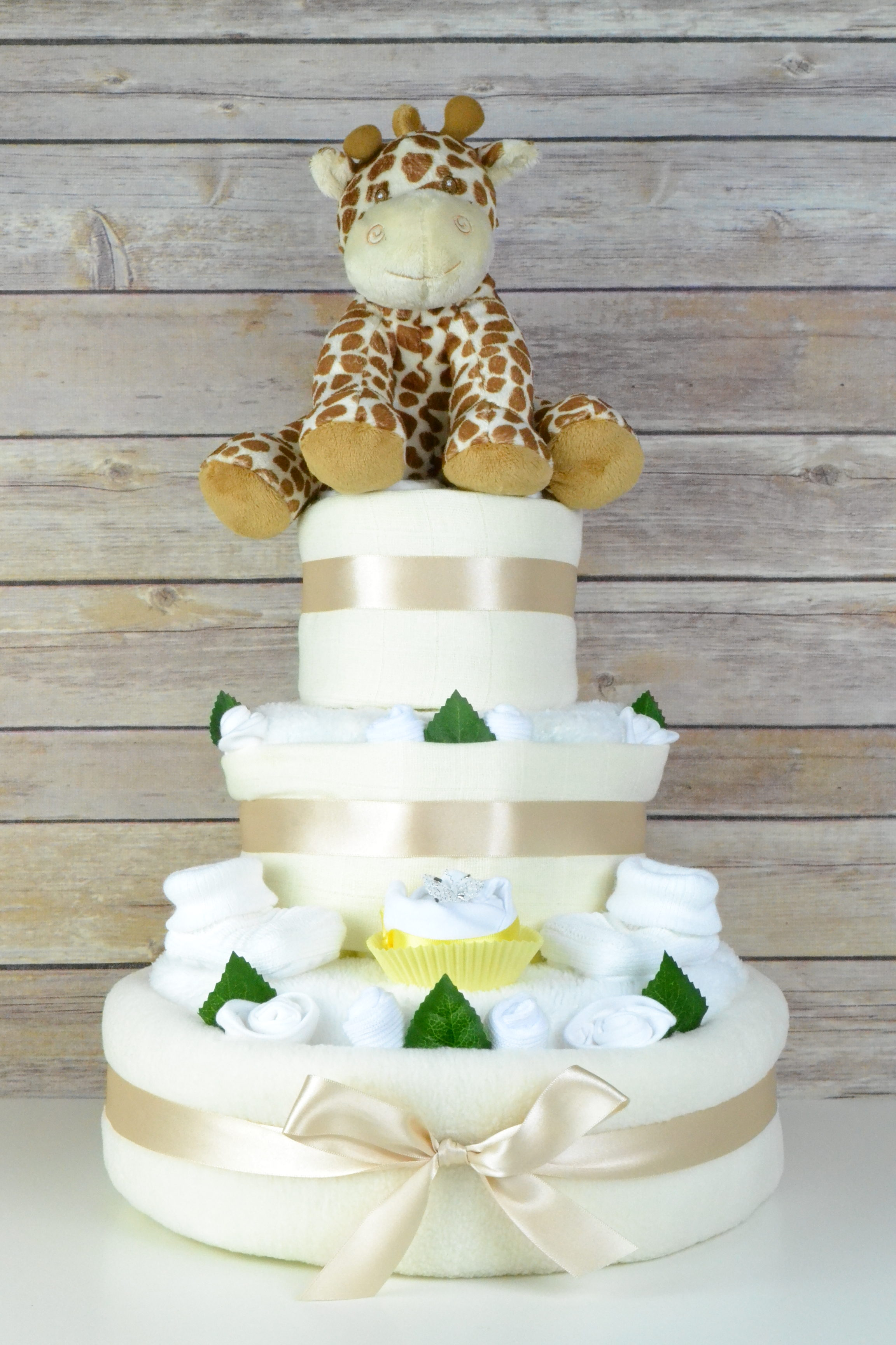 Three Tier Neutral Cupcake Nappy Cake