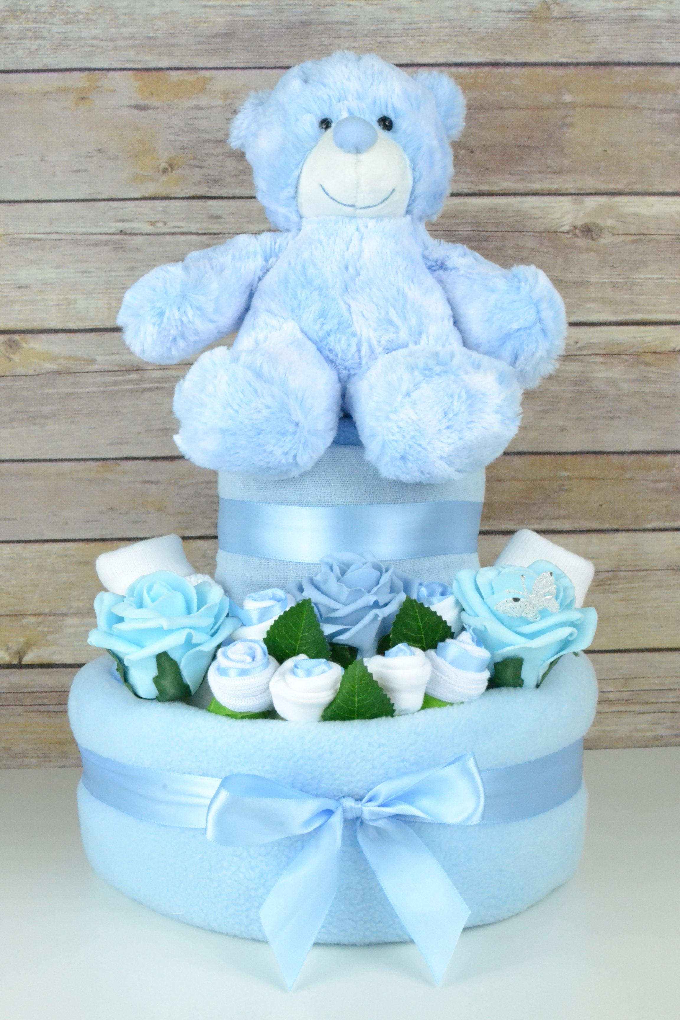 Two Tier Blue Rose Nappy Cake