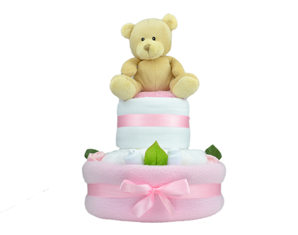 Pink Rose Bud Nappy Cake