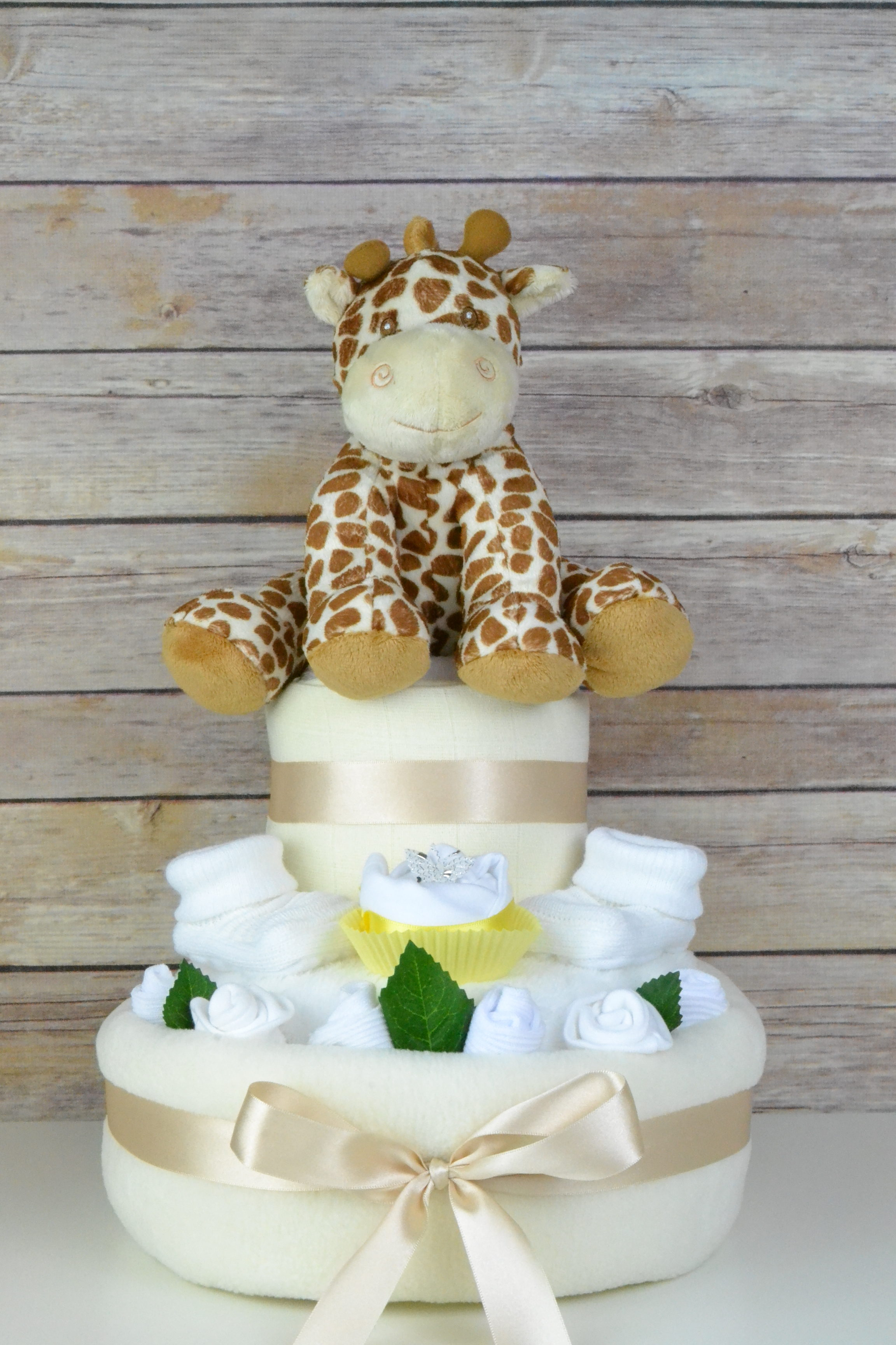 Two Tier Neutral Cupcake Nappy Cake