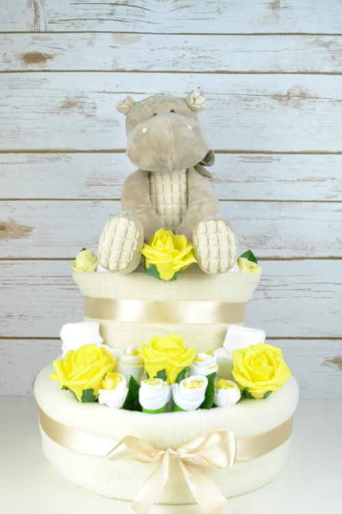 Yellow Rose Bud Nappy Cake