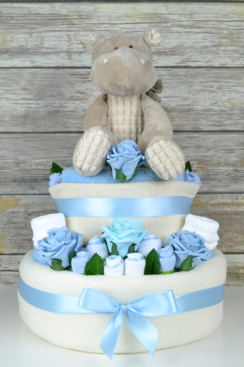 Large Two Tier Blue Rose Bud Nappy Cake