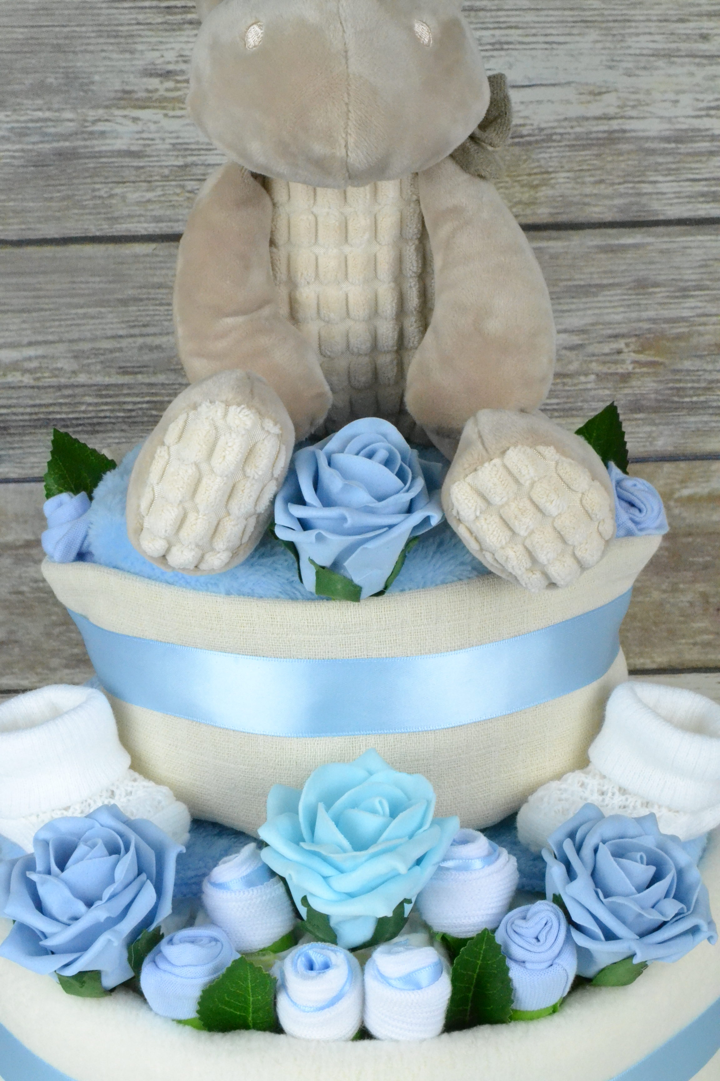 Large Two Tier Blue Rose Nappy Cake