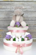 Large Two Tier Pink Rose Bud Nappy Cake