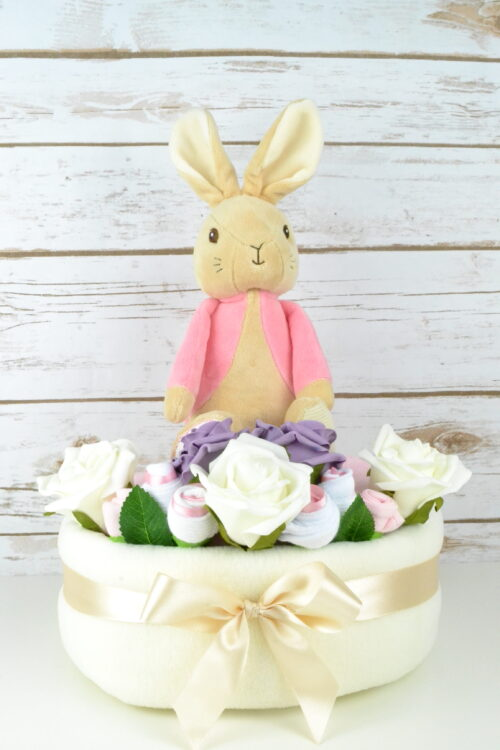 One Tier Flopsy Bunny Nappy Cake