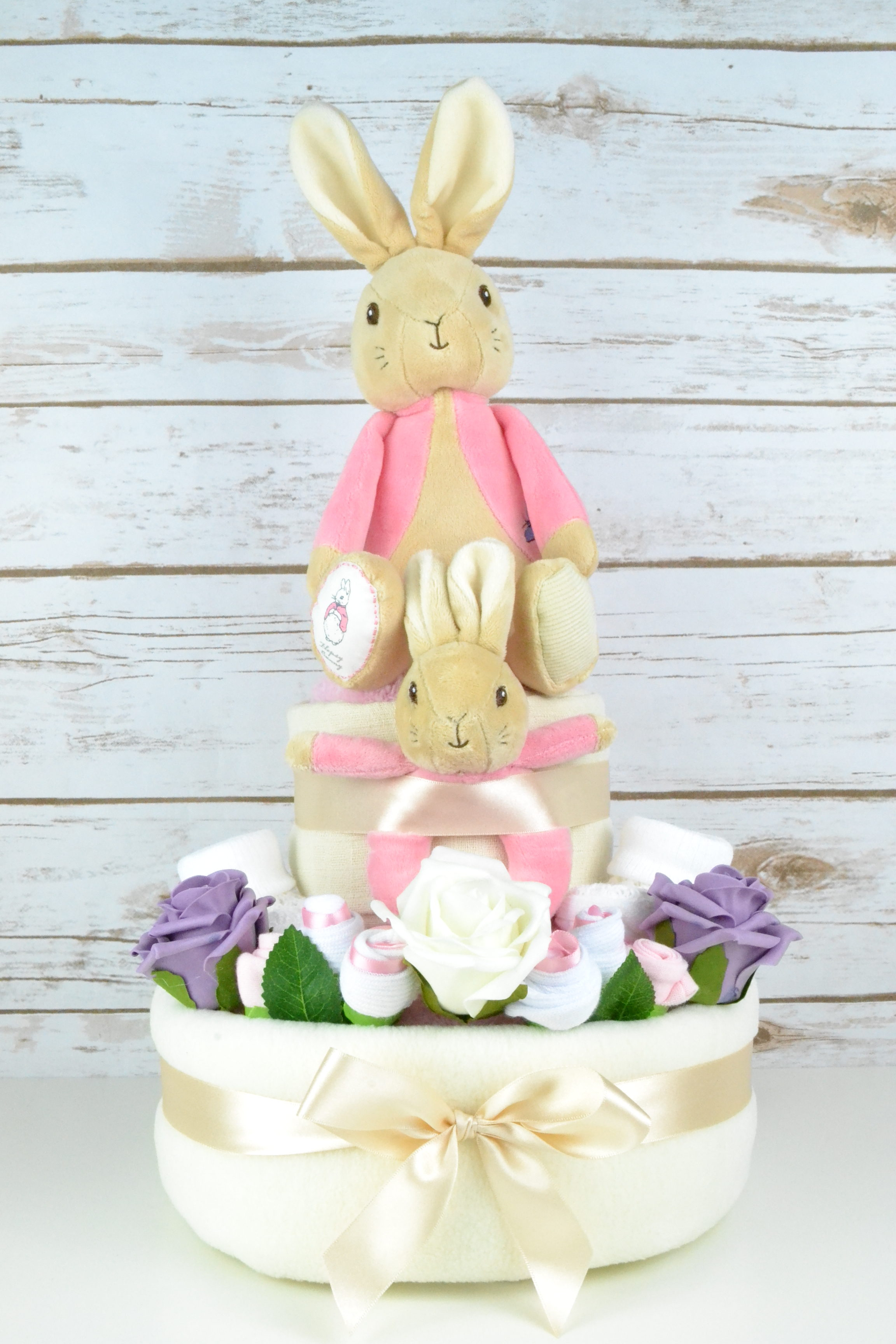 Two Tier Flopsy Bunny Nappy Cake