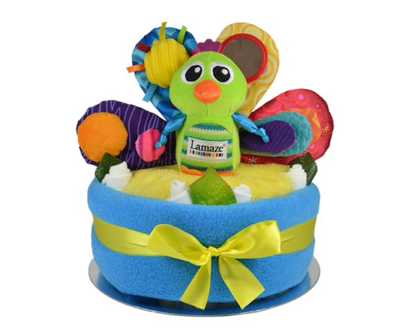 Lamaze Jacques the Peacock Nappy Cake - Blue
