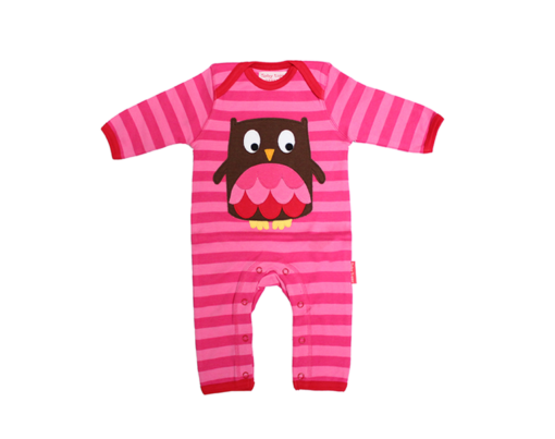 Toby Tiger - Organic Cotton Owl Applique Sleepsuit