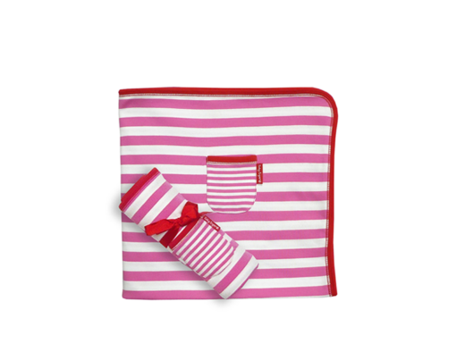 Toby Tiger - Organic Cotton Blanket/Shawl Pink and White Stripe