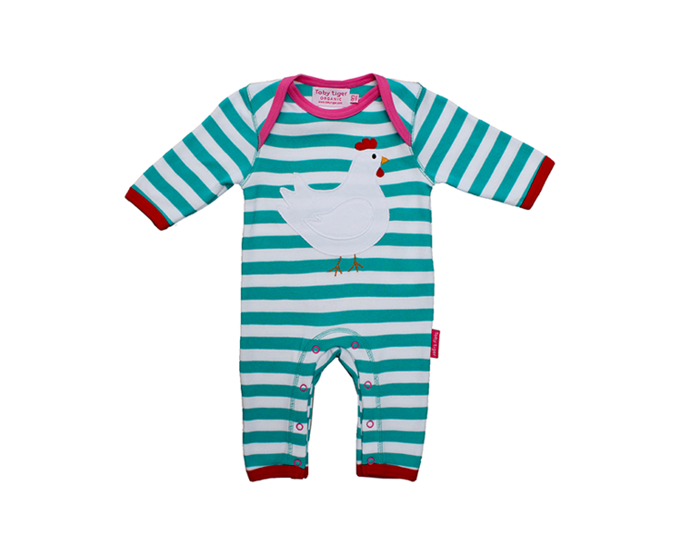 Toby Tiger - Organic Cotton Chicken Applique Sleepsuit