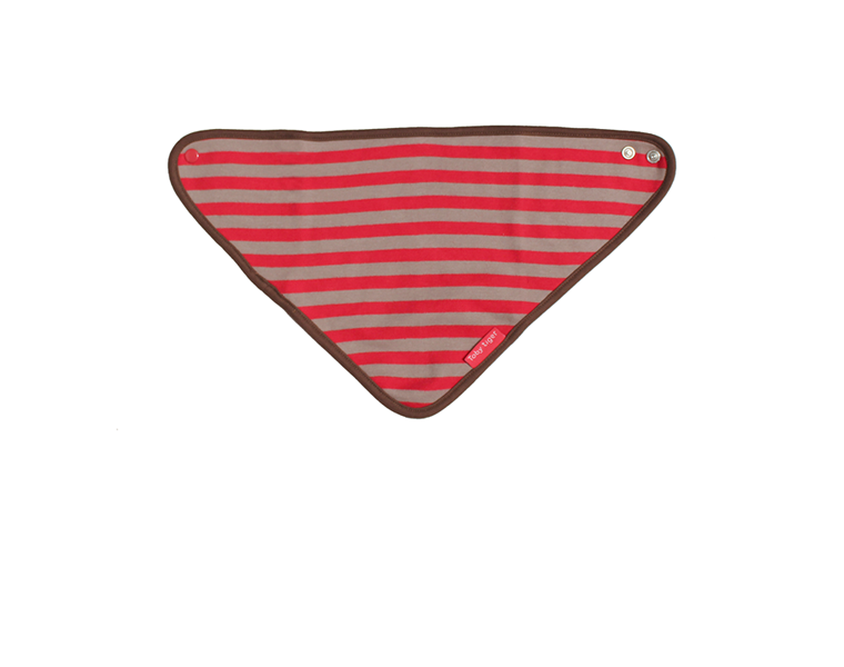 Toby Tiger - Red & Brown Organic Cotton Dribble Bib