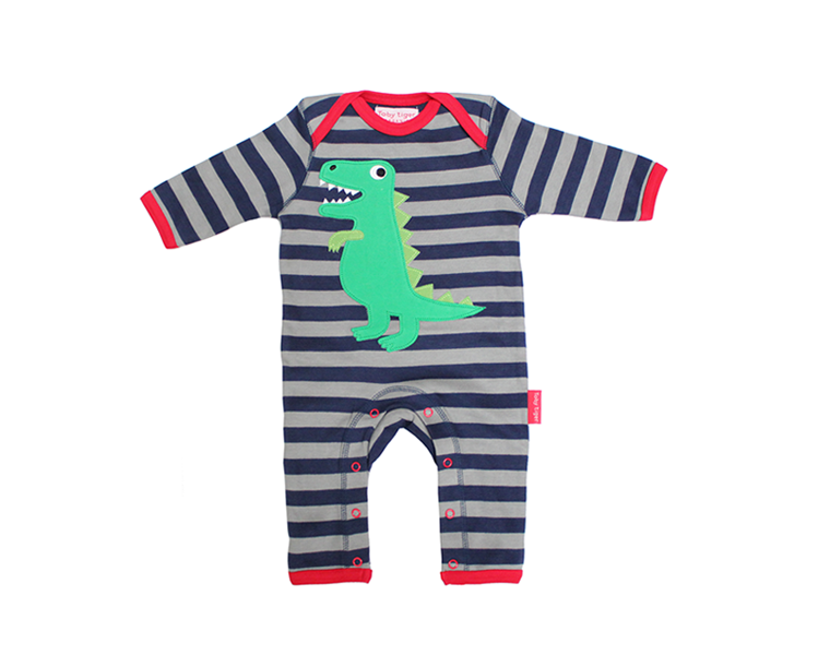 Toby-Tiger-T-Rex-Applique-Sleepsuit