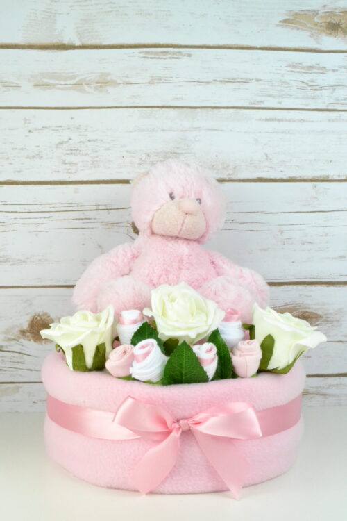 One Tier Pink Rose Nappy Cake