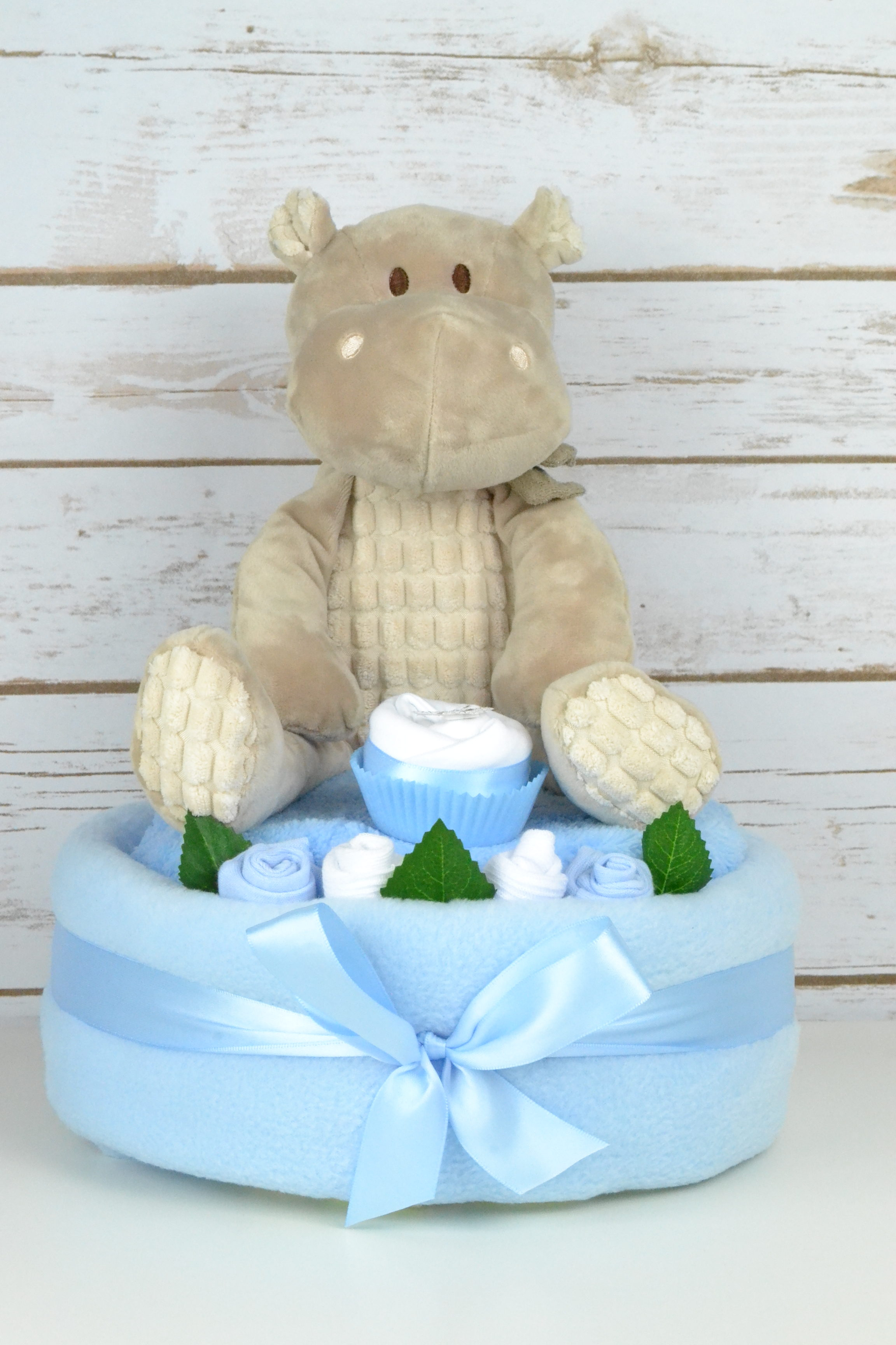 One Tier Blue Hetty Hippo Nappy Cake