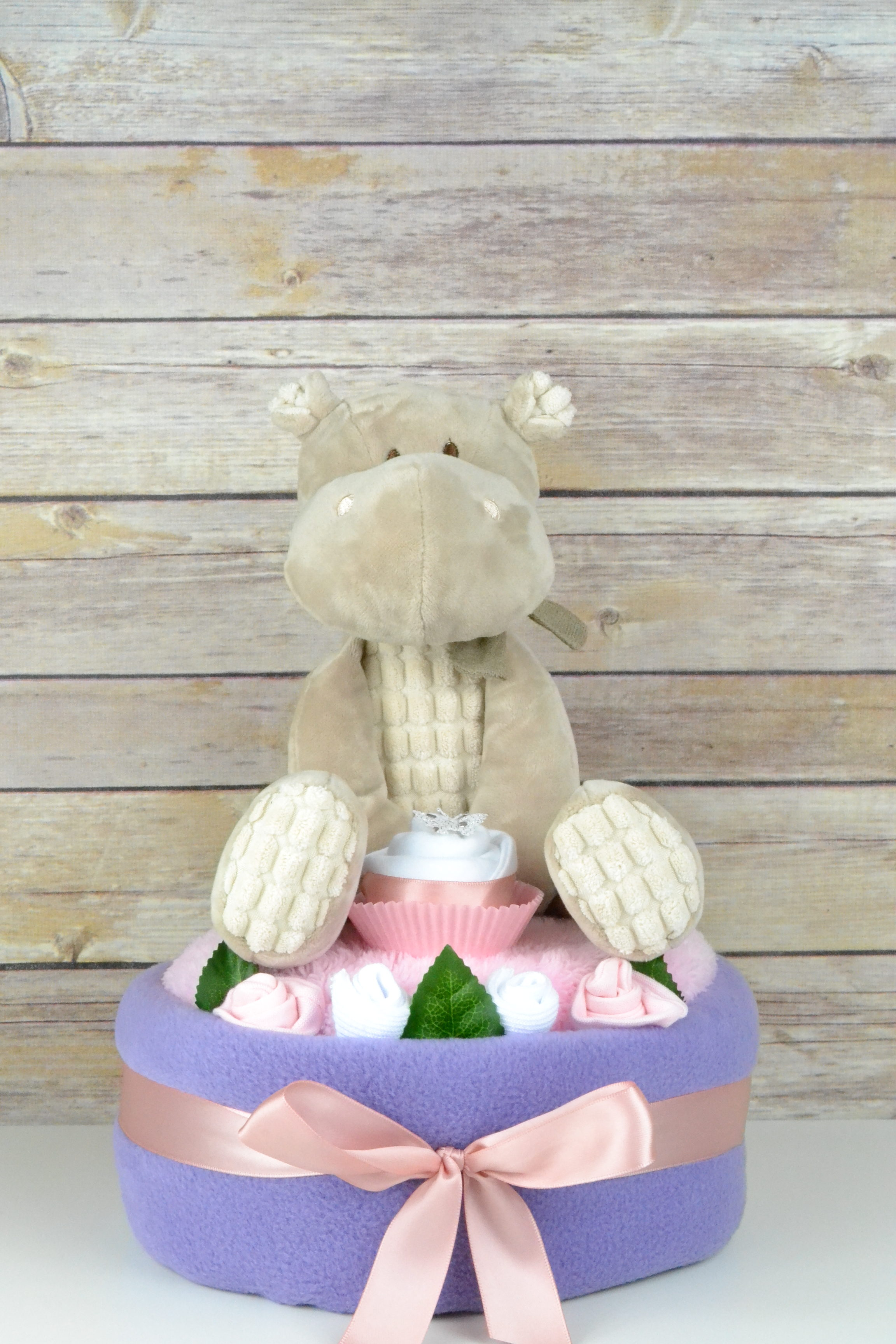 One Tier Lilac Hetty Hippo Nappy Cake