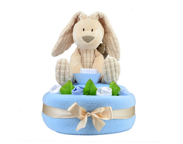 One Tier Blue Willow Bunny Nappy Cake