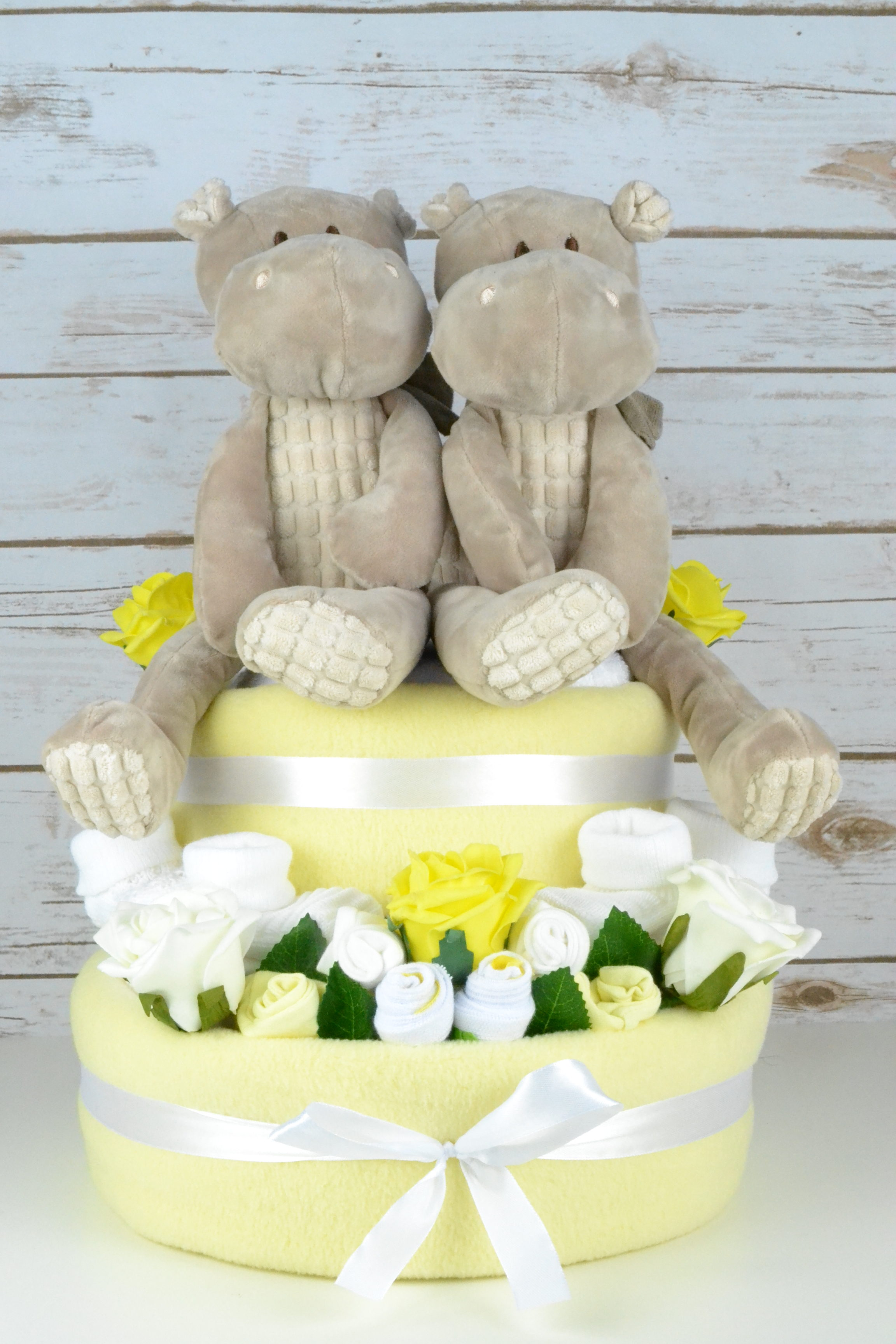 Twin Hetty Hippo Nappy Cake