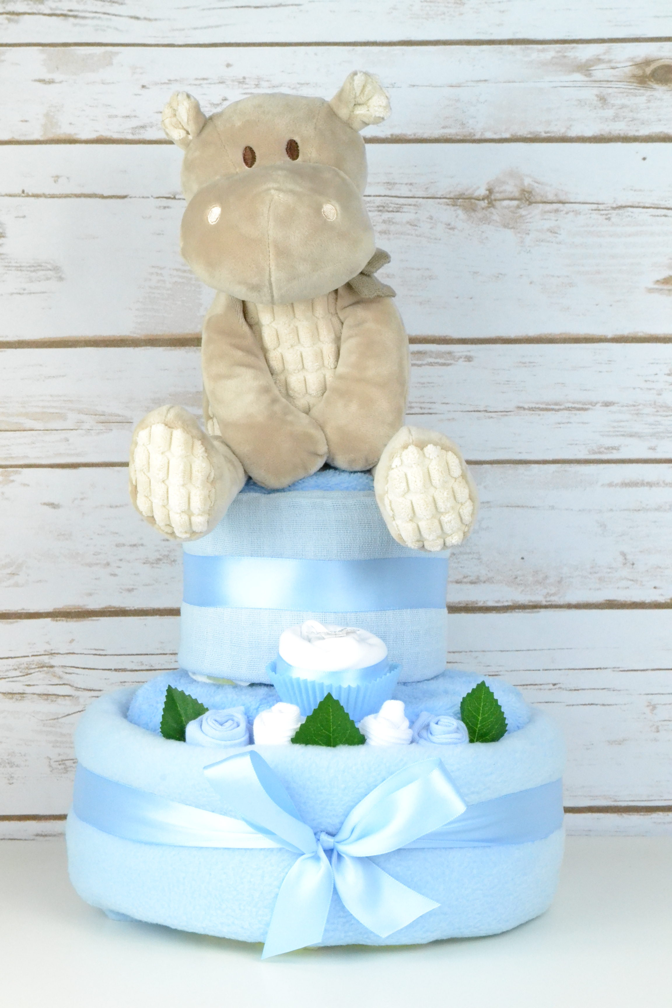 Two Tier Blue Hetty Hippo Nappy Cake