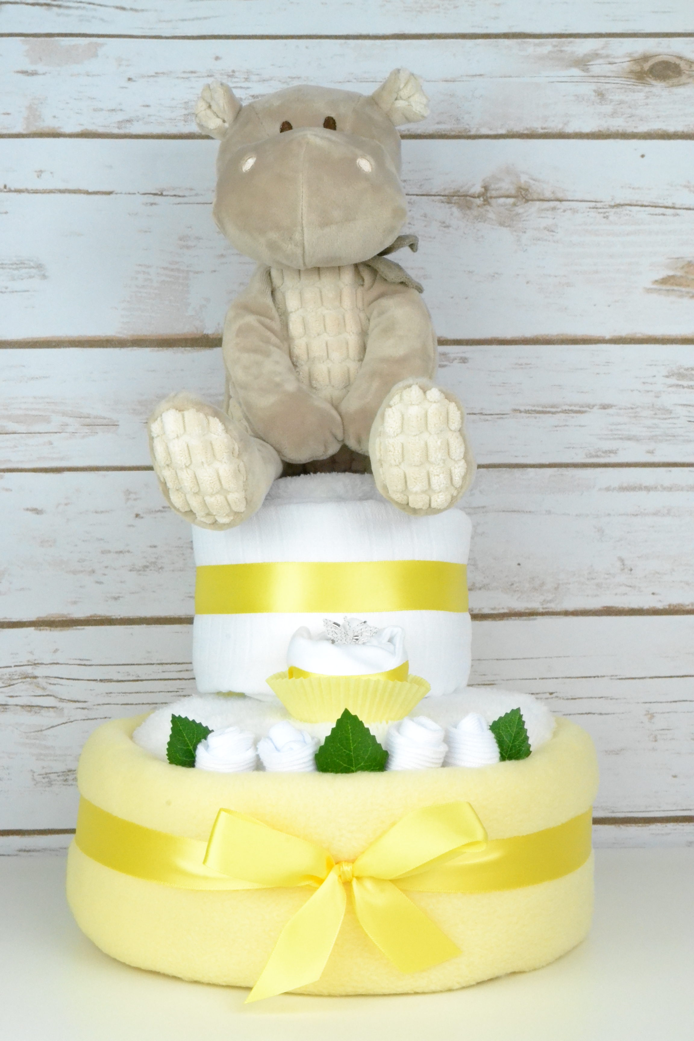 Two Tier Yellow Hetty Hippo Nappy Cake