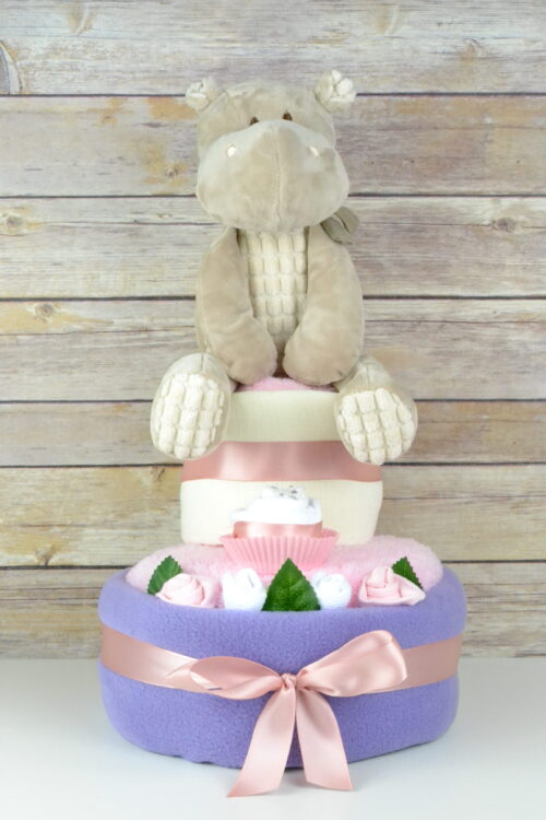 Two Tier Lilac Hetty Hippo Nappy Cake