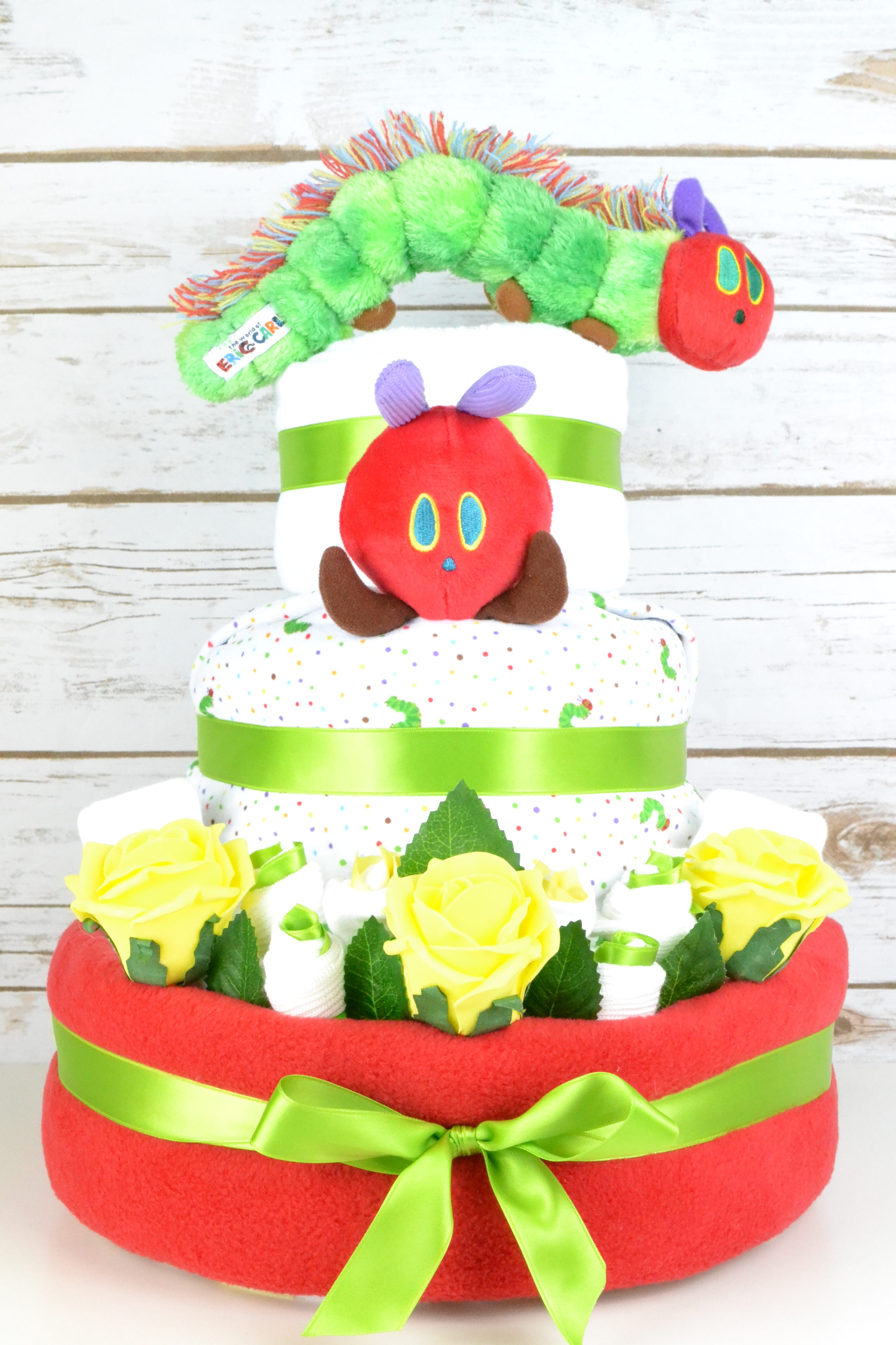 Three Tier Hungry Caterpillar Nappy Cake