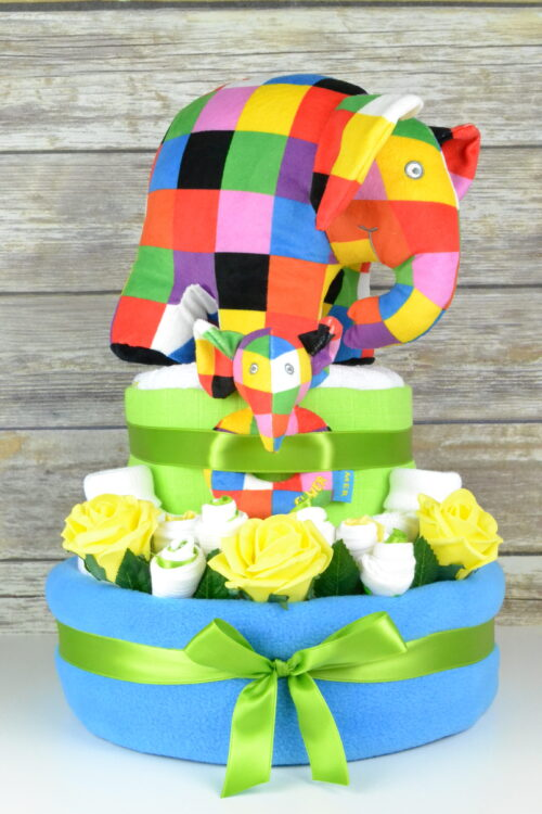 Luxury Blue Elmer Nappy Cake